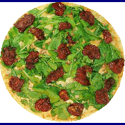 Veganas e Vegetarianas: Rúcula c/tomate seco - Pizza Broto (Ingredientes: Mussarela, Rúcula, Tomate Seco)