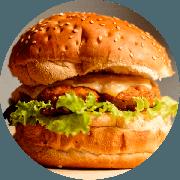 Hamburger: Chicken Burger - Hambúrguer (Ingredientes: Alface, Burger da Casa de 200g, Cebola Ao Shoyu, Mostarda, Mussarela)
