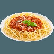 Espaguete: Espaguete a Bolonhesa - Massa Grande (Ingredientes: Molho a Bolonhesa (Carne Moída e Molho de tomate) misturados ao espaguete.)