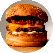 Hamburger: The American Burger - Hambúrguer (Ingredientes: Bacon, Barbecue, Burger da Casa de 200g, Cheddar, Maionese Caseira, Picles)
