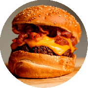 Hamburger: The Barbecue Bacon Cheddar - Hambúrguer (Ingredientes: Barbecue, Burger da Casa de 200g, Cheddar Duplo, Duplo Bacon)