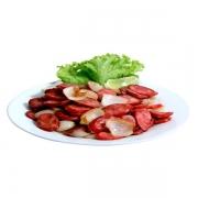 Porções: Linguiça Calabresa 250g - Petisco (Ingredientes: Rodelas de linguiça calabresa grelhada e acebolada)