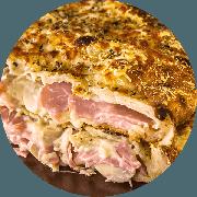 Calzone: Canadense - Calzone Grande (Ingredientes: Orégano, Catupiry, Champignon, Lombinho, Muçarela)