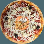Tradicionais: Baiana - Pizza Gigante (Ingredientes: Azeitona Preta, Calabresa Moída, Cebola, Molho de Pimenta Especial, Molho Especial de Tomate, Mussarela, Orégano, Ovo)