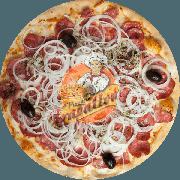 Tradicionais: Calabresa - Pizza Gigante (Ingredientes: Azeitona Preta, Calabresa, Cebola, Molho Especial de Tomate, Mussarela, Orégano)