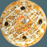 Tradicionais: Frango Catupiri - Pizza Gigante (Ingredientes: Azeitona Preta, Catupiry, Frango Desfiado, Molho Especial de Tomate, Mussarela, Orégano)