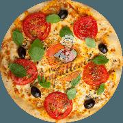 Tradicionais: Marguerita - Pizza Gigante (Ingredientes: Azeitona Preta, Manjericão Fresco, Molho Especial de Tomate, Mussarela, Orégano, Parmesão, Tomate Fatiado)