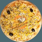 Tradicionais: Milho - Pizza Gigante (Ingredientes: Azeitona Preta, Milho, Molho Especial de Tomate, Mussarela, Orégano)