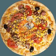 Tradicionais: Paulista - Pizza Gigante (Ingredientes: Azeitona Preta, Bacon Crocante, Ervilha, Milho, Molho Especial de Tomate, Mussarela, Orégano, Tomate em Cubos)