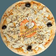 Tradicionais: Champignon - Pizza Gigante (Ingredientes: Azeitona Preta, Champignon, Molho Especial de Tomate, Mussarela, Orégano, Parmesão)