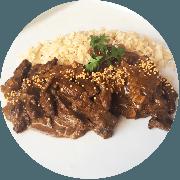 Carnes: Tirinhas de Filé ao Molho de Mostarda - prato (Ingredientes: (+2 Acompanhamentos), Filé mignon em Tirinhas com Molho Mostarda)