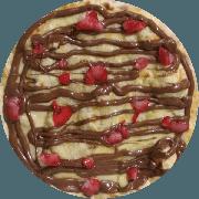 Pizzas Doces: Chocolate com Morango - Pizza Pequena (Ingredientes: Mussarela, Chocolate, Morango)