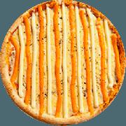 Tradicionais: 4 Queijos - Pizza Grande (Ingredientes: Cheddar, Molho de Tomate, Mussarela, Orégano, Parmesão, Requeijão Cremoso)