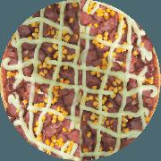 Tradicionais: À Moda Pizzaiolo - Pizza Grande (Ingredientes: Calabresa Fatiada, Milho, Molho de Tomate, Orégano, Requeijão Cremoso)