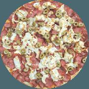 Tradicionais: Do Chef - Pizza Grande (Ingredientes: Azeitona Picada, Calabresa Fatiada, Cebola na Manteiga, Molho de Tomate, Orégano)