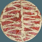 Tradicionais: Lombo Com Requeijão - Pizza Grande (Ingredientes: Lombo Fatiado, Molho de Tomate, Orégano, Requeijão Cremoso)