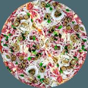 Tradicionais: Portuguesa - Pizza Grande (Ingredientes: Azeitona Picada, Cebola, Molho de Tomate, Orégano, Pimentão, Presunto, tomate picado)