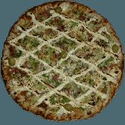 Premium: Alho Poró com Parma - Pizza Pequena (Ingredientes: Alho Poró, Azeitona, Cream Cheese, Molho de Tomate, Muçarela, Orégano, Presunto Parma)