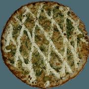 Especiais: Alho Poró com Cream Chesse - Pizza Pequena (Ingredientes: Alho Poró, Azeitona, Cream Cheese, Molho de Tomate, Muçarela, Orégano)