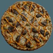 Especiais: Cheese Burguer - Pizza Pequena (Ingredientes: Azeitona, Hamburguer bovino com cheddar, Molho de Tomate, Muçarela, Orégano)