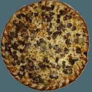 Especiais: Filé ao Alho e Óleo - Pizza Pequena (Ingredientes: Alho e Oléo, Azeitona, Filé Mignon, Molho de Tomate, Muçarela, Orégano)
