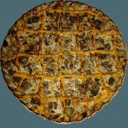 Especiais: Filé com Cheddar - Pizza Pequena (Ingredientes: Azeitona, Cheddar, Filé Mignon, Molho de Tomate, Muçarela, Orégano)