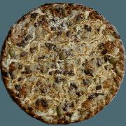 Especiais: Filé Quatro Queijos - Pizza Pequena (Ingredientes: Azeitona, Filé Mignon, Gorgonzola, Molho de Tomate, Muçarela, Orégano, Parmesão, Provolone)