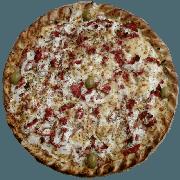 Especiais: Peru Light - Pizza Pequena (Ingredientes: Azeitona, Creme de Leite, Molho de Tomate, Muçarela, Orégano, Peito de Peru, Tomate Seco)