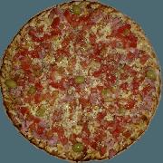 Tradicionais: Presunto - Pizza Pequena (Ingredientes: Azeitona, Molho de Tomate, Muçarela, Orégano, Presunto, Tomate Picado)