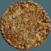 Tradicionais: Manézinha - Pizza Pequena (Ingredientes: Azeitona, Molho de manga, Molho de Tomate, Muçarela, Orégano, Tainha assada e desfiada)