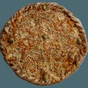 Premium: Estrogonofe de Camarão - Pizza Pequena (Ingredientes: Azeitona, Batata Palha, Molho de Tomate, Muçarela, Orégano, Strogonoff de Camarão)