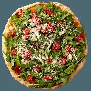 Especiais: Tomate seco com Rúcula - Pizza Pequena (Ingredientes: Azeitona, Molho de Tomate, Muçarela, Orégano, Rúcula, Tomate Seco)