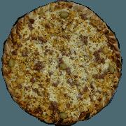 Tradicionais: Caipira - Pizza Pequena (Ingredientes: Azeitona, Bacon, Frango Desfiado, Milho, Molho de Tomate, Muçarela, Orégano)