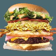 Tradicionais: Guloso - Hambúrguer (Ingredientes: Alface, Bacon, Batata Palha, Filé de Frango 40g, Hambúrguer de Carne, Maionese, Milho, Molho Especial, Ovo, Pão, Presunto, Queijo, Tomate)