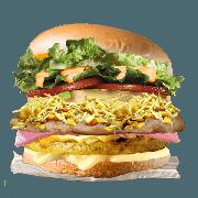 Frango: Galinho - Hambúrguer (Ingredientes: Alface, Batata Palha, Filé de Frango 40g, Hambúrguer de Frango 56g, Milho, Molho Especial, Pão, Presunto, Queijo, Tomate)