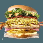 Frango: Mega Frango - Hambúrguer (Ingredientes: Alface, Bacon, Batata Palha, Filé de Frango 40g, Hambúrguer de Frango 56g, Maionese, Milho, Molho Especial, Ovo, Pão, Presunto, Queijo, Tomate)