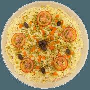 Pizzas Salgadas Semi Pronta: À Moda Especial (05) - Pizza Grande (Ingredientes: Azeitona, Molho de Tomate, Mussarela, Orégano, Presunto, Seleta de Legumes, Tomate)