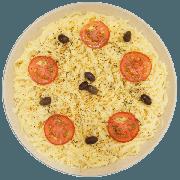 Pizzas Salgadas Semi Pronta: Alho (06) - Pizza Grande (Ingredientes: Alho Tostado, Azeitona, Molho de Tomate, Mussarela, Orégano, Tomate)