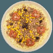 Pizzas Salgadas Semi Pronta: Atum com Milho (11) - Pizza Grande (Ingredientes: Atum, Azeitona, Milho, Molho de Tomate, Mussarela, Orégano, Tomate)
