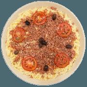 Pizzas Salgadas Semi Pronta: Baiana Especial (14) - Pizza Grande (Ingredientes: Azeitona, Calabresa Ralada, Molho de Pimenta, Molho de Tomate, Mussarela, Orégano, Tomate)