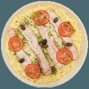 Pizzas Salgadas Semi Pronta: Brócolis (15) - Pizza Grande (Ingredientes: Alho Tostado, Azeitona, Bacon, Brócolis, Molho de Tomate, Mussarela, Orégano, Parmesão, Tomate)