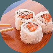 Uramaki: Uramaki Mauriti 10 Unidades - Salmão, Camarão, Kani e Cream