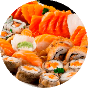 Combinado: Combinado 1 - Combinados (Ingredientes: 04 uni. Filadélfia kani, 04 uni. Futomaki skin, 04 uni. Salmão filadélfia, 06 uni. Niguiri Variados, 06 uni. Sushi uramaki)
