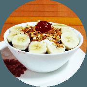 Sobremesas: 100 - Açaí na Tigela 500g - Leite condensado, Granola, Leite Ninho, Cereja e Banana.