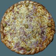 Tradicionais: Portuguesa - Pizza Pequena (Ingredientes: Azeitona, Cebola Roxa, Molho de Tomate, Muçarela, Orégano, Ovo, Presunto)