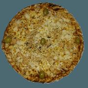 Tradicionais: Frango com Palmito - Pizza Pequena (Ingredientes: Azeitona, Frango Desfiado, Molho de Tomate, Muçarela, Orégano, Palmito)