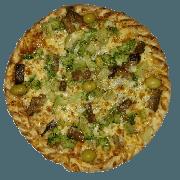 Tradicionais: Vegetariana - Pizza Pequena (Ingredientes: Abobrinha grelhada, Azeitona, Berinjela, Brócolis, Molho de Tomate, Muçarela, Orégano, Parmesão)