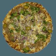Especiais: Atum - Pizza Pequena (Ingredientes: Azeitona, Brócolis, Cebola Roxa, Lascas de Atum, Molho de Tomate, Muçarela, Orégano, Queijo Parmesão)