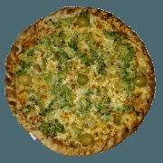 Tradicionais: Brócolis - Pizza Pequena (Ingredientes: Azeitona, Brócolis, Molho de Tomate, Muçarela, Orégano, Parmesão)