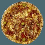 Especiais: Picante - Pizza Pequena (Ingredientes: Azeitona, Linguiça defumada, Molho de Tomate, Muçarela, Orégano, Pimenta dedo de moça, Pimentões Vermelhos)